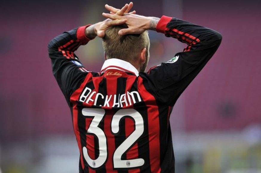 """""""AC Milan"""" saugas Davidas Beckhamas neslėpė nusivylimo mačo rezultatu"""