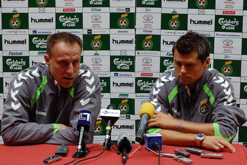 Rinktinės treneris R.Žutautas ir kapitonas T.Danilevičius tikėjosi sunkios kovos