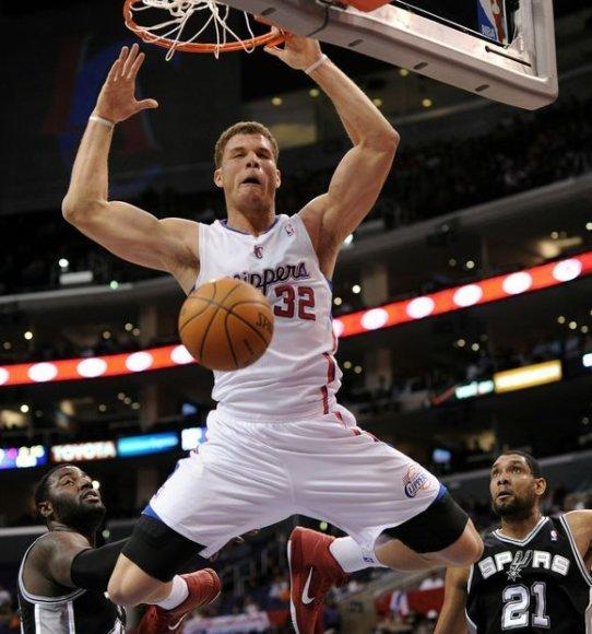 """""""Spurs"""" nesustabdė """"Clippers"""" naujoko Blake'o Griffino."""