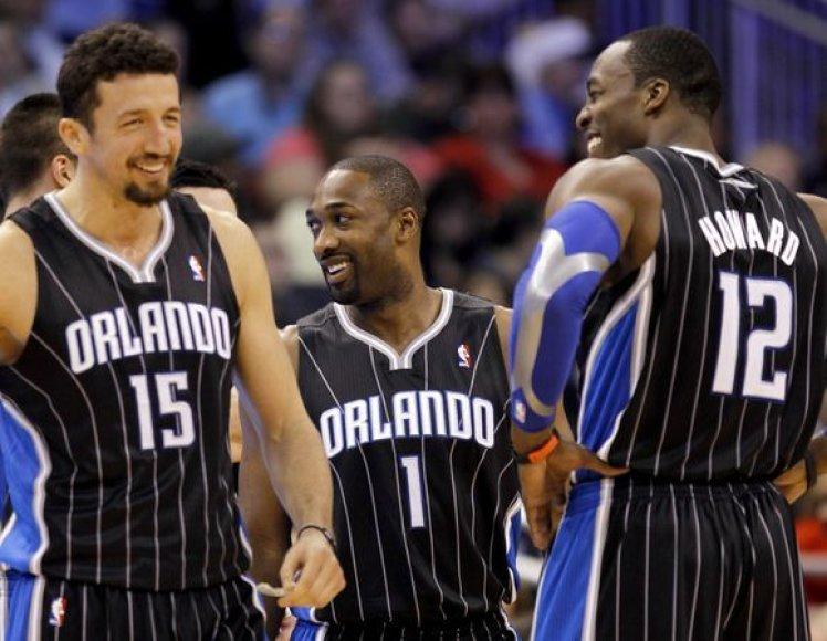 Hedo Turkoglu (kairėje) trigubą dublį NBA lygoje atliko trečią kartą per savo karjerą.