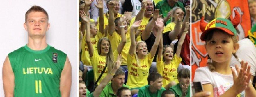 Tautvydas Sabonis (k.) džiaugiasi audringu sirgalių palaikymu Latvijoje.