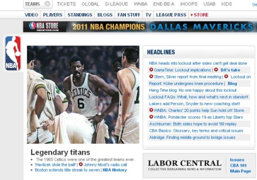 Oficialioje NBA lygos svetainėje nebeliko jokių dabartinių žvaigždžių nuotraukų.