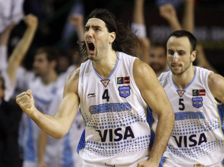 Argentinos rinktinės lyderiai Luisas Scola ir Manu Ginobilis