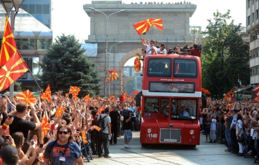 Makedonijos krepšininkų sutiktuvės Skopjėje