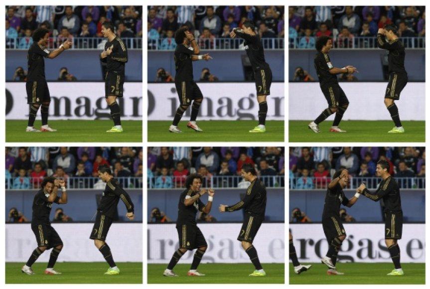 """Marcelo sveikina tris įvarčius pelniusį """"Real"""" lyderį Cristiano Ronaldo."""