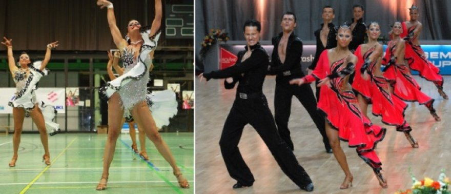 """Palyginimas – naujosios Brėmeno ir senosios """"Žuvėdros"""" šokėjų suknelės."""