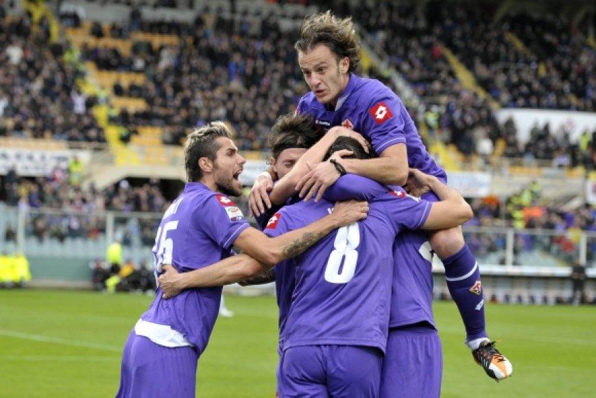 """""""Fiorentina"""" džiaugiasi pergale."""