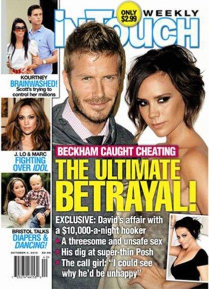 """Davidas ir Victoria Beckhamai ant žurnalo """"In Touch"""" viršelio"""