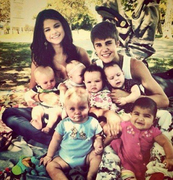Justinas Bieberis ir Seleno Gomez vaidina šeimą