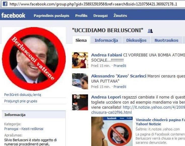 Internete grasinama nužudyti S.Berlusconi.