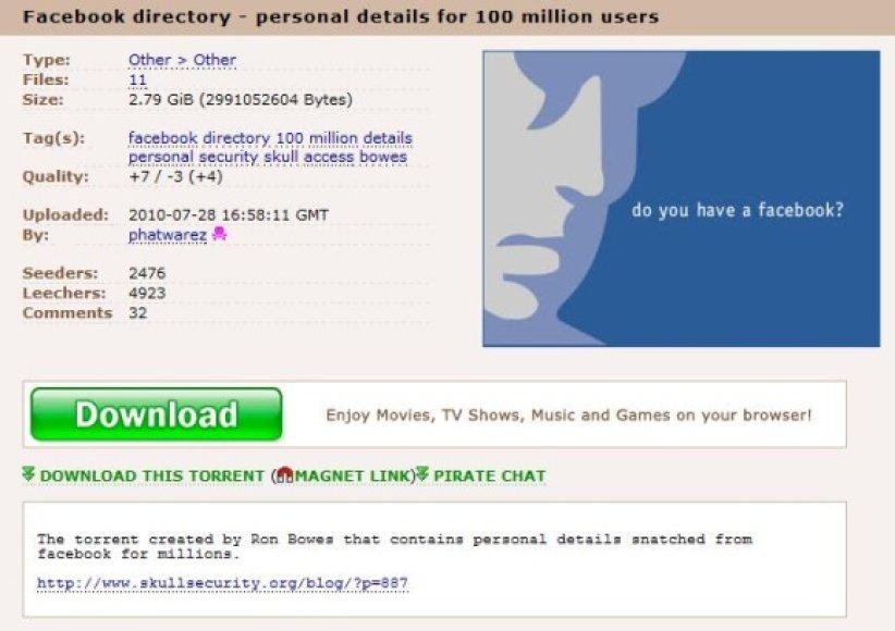 """Didžiausiame failų dalinimosi tinklalapyje """"The Pirate Bay"""" sąrašą jau atsisiuntė per 5 tūkst. vartotojų."""
