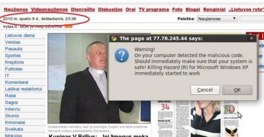 """Dėl įsilaužimo į vieną """"Omnitel"""" administruojamų tinklalapių, kai kurių naujienų portalų skaitytojus norėta užkrėsti virusais."""