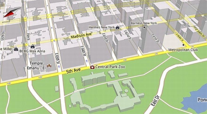 """""""Google Maps 5"""" palaiko trimačius žemėlapius."""