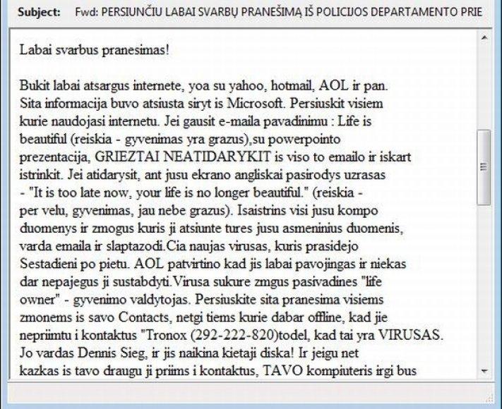 Lietuvoje plinta apie netikrą virusą skelbiantys el. laiškai.