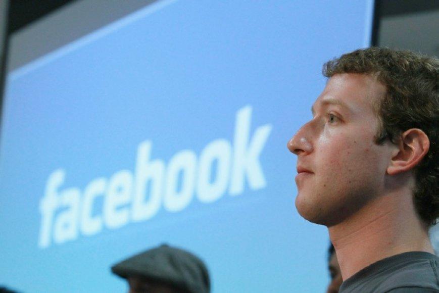 """Facebook"" įkūrėjas Markas Zuckerbergas."