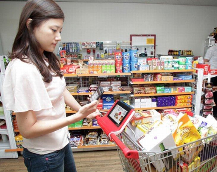 Išmanieji krepšeliai gali būti sinchronizuojama su pirkėjo išmaniuoju telefonu.