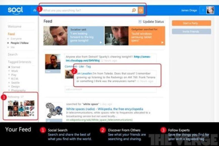 """Taip atrodo """"Microsoft"""" esą kuriamas socialinis tinklas """"Socl""""."""