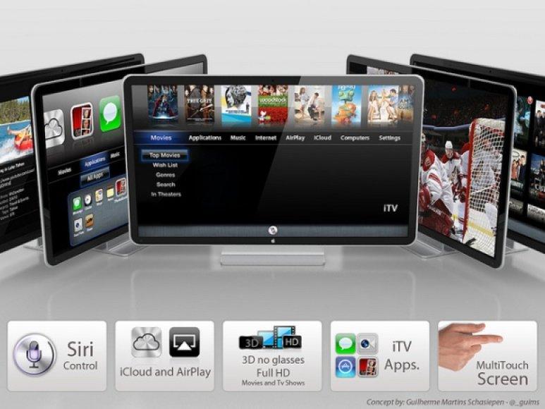 """Taip """"Apple"""" išmanųjį televizorių """"iTV"""" įsivaizduoja dizaineris Guilherme Schasiepenas."""