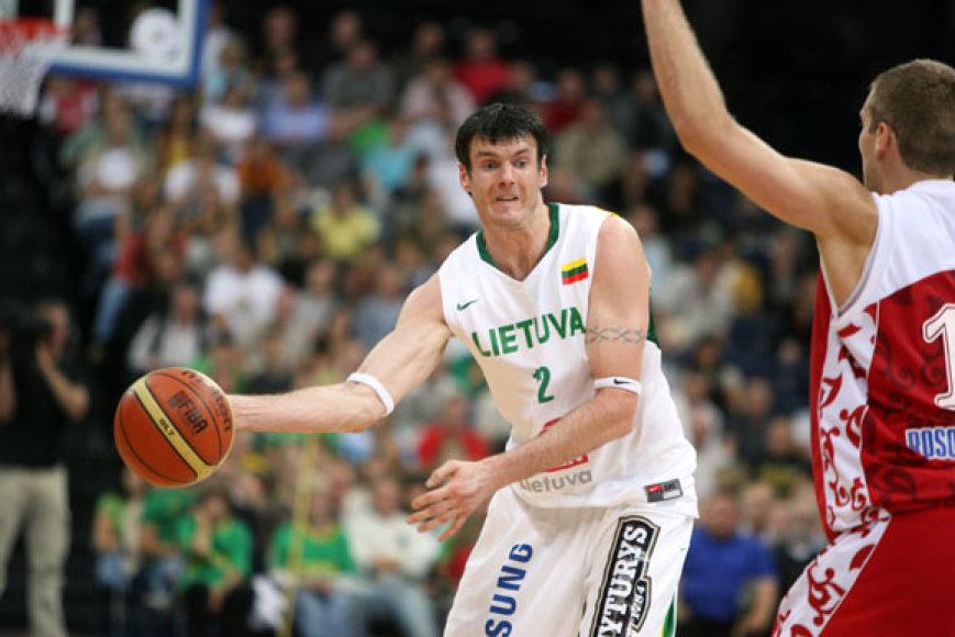 Europos vyrų krepšinio čempionatui besirengiančių Lietuvos bei Rusijos rinktinių rungtynės Panevėžyje