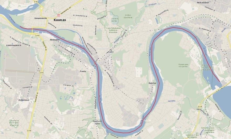 Asmeninė nuotr./Maršrutas, kuriuo plauks patriotinio plaukimo Nemunu dalyviai. Jo ilgis – 16 km