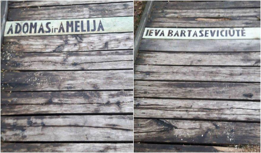 Kauno marių regioninio parko direkcijos nuotr./Taip atrodo vardinės tako lentos Kadagių slėnyje, kurias žmonės gali įsigyti už 5 Eur
