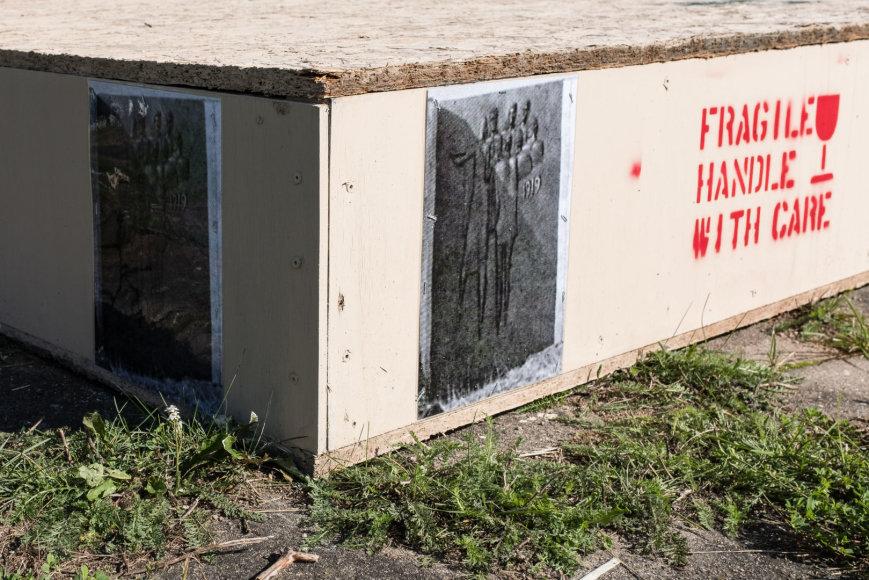 Remio Ščerbausko nuotr./Tokios dėžės, kuriose paprastai pergabenami meno kūriniai, autorių sumanymu, vietinių gali būti sunaikintos