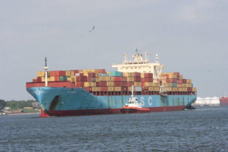 Konteinerius į uostą atplukdęs laivas.
