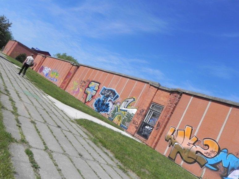 """) Prekybos tinklo """"Šilas"""" atstovai įvertino, kad sienas apipaišę vandalai pridarė apie 15 tūkst. Lt žalos."""