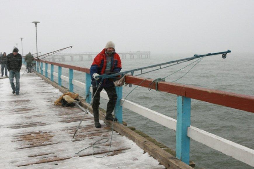Žvejai nuo Palangos tilto stintas traukia tinkliniais samčiais, dar vadinamais keseliais.