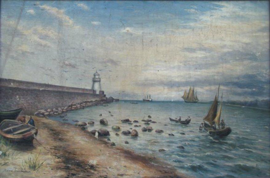 """A Zinnhuber paveikslas """"Molas prie Klaipedos"""" apie 1880 m."""