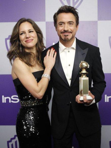 """Aktorius Robertas Downey su žmona (""""Šerlokas Holmsas"""")"""