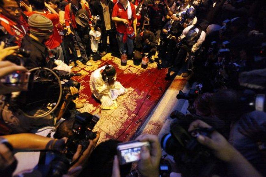 Protestuotojų lyderiai sakė surinkę 300 litrų kraujo