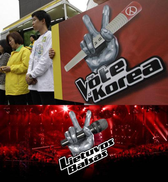 """Daugelyje pasaulio šalių, taip pat ir Lietuvoje, rengiamo formato """"The Voice of…"""" logotipas Pietų Korėjoje buvo pritaikytas rinkimams."""