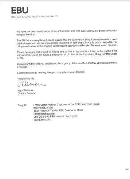 Lrt.lt nuotr./Europos transliuotojų sąjungos (EBU) laiškas Ukrainos premjerui