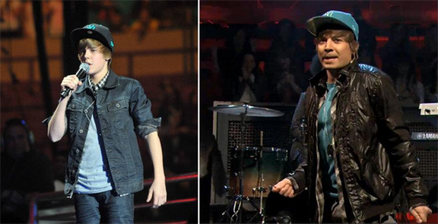 Justinas Bieberis (kairėje) ir Jimmy Fallonas
