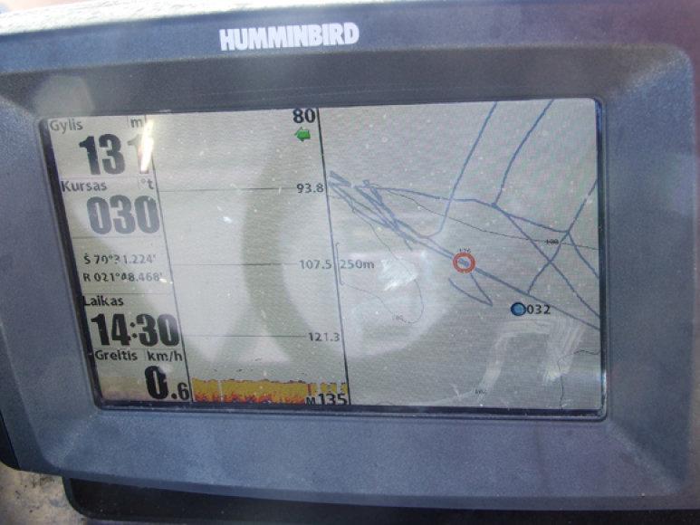 Navigatoriaus ekrane atsispindi visi laivo dreifo parametrai