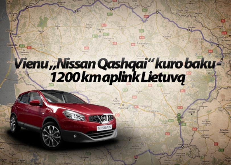 """Vienu """"Nissan Qashqai"""" kuro baku - 1200 km aplink Lietuvą"""