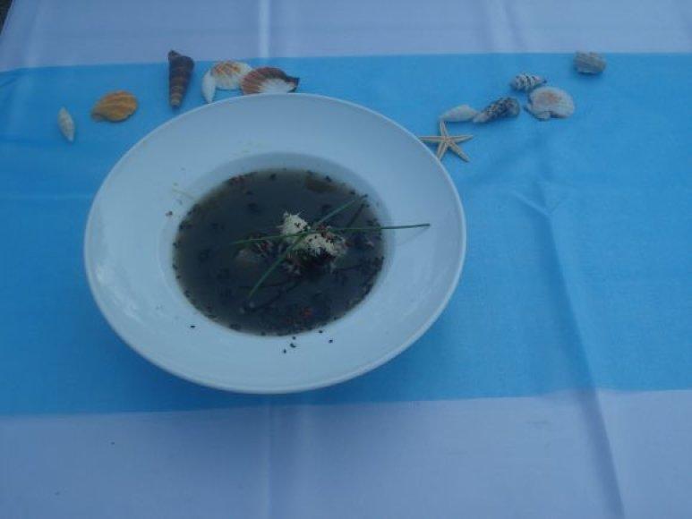 Šventės lankytojai atsargiai ragavo juodos žuvienės, nuspalvintos kalmarų rašalu, tačiau skoniu nenusivylė.