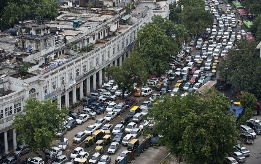 Transporto spūstis Indijoje