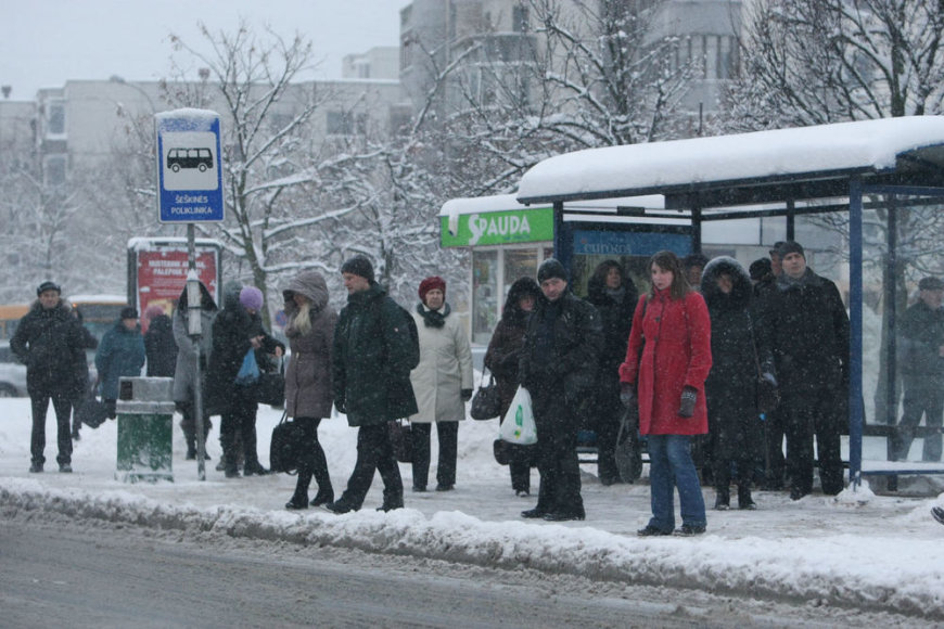 Žmonės viešojo transporto stotelėje