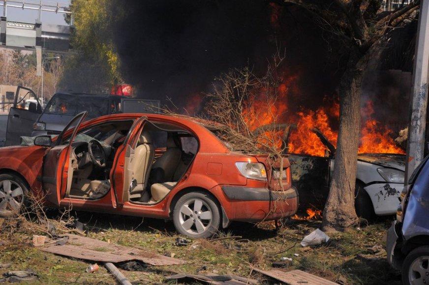 Galingo sprogimo padariniai Damasko centre