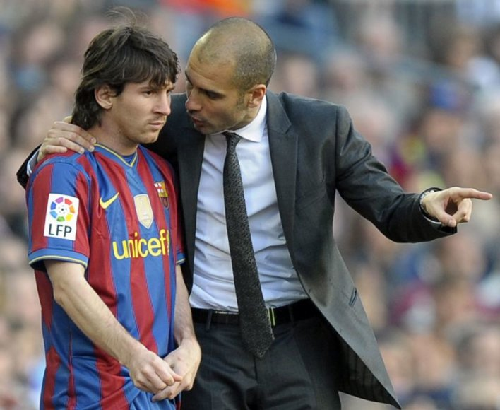 Josepas Guardiola ir Leonelis Messi