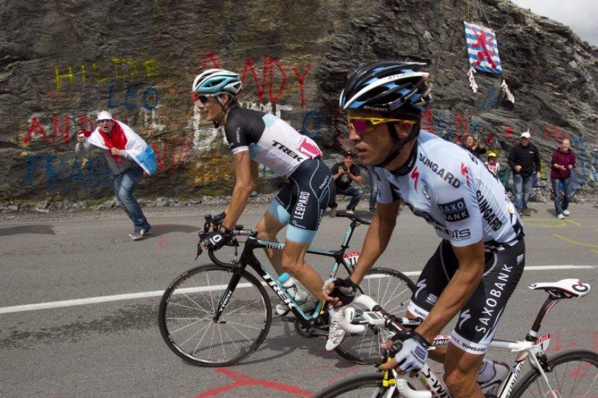 Andy Schleckas ir Alberto Contadoras
