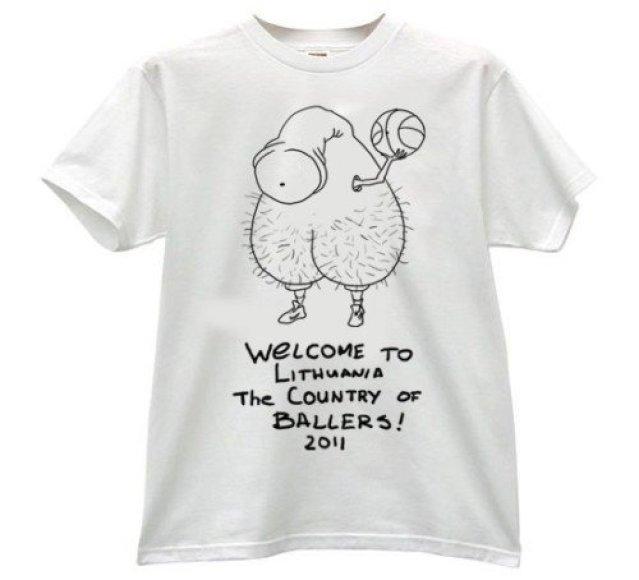 Parduodami štai ir tokie krepšinio marškinėliai