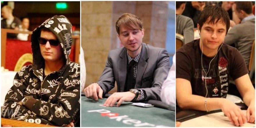 """Lietuvos pokerio žaidėjai L.Levinskas, """"Mellow-Peach"""" ir K.Grybauskas"""
