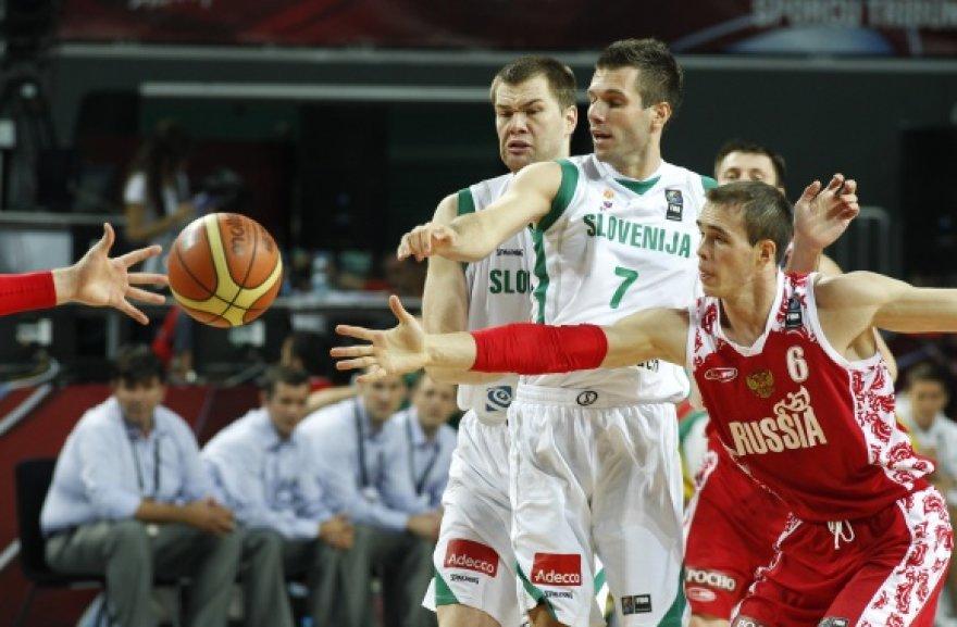 Pasaulio čempionate Slovėnijos krepšininkai su rusais žaidė dėl 7 vietos