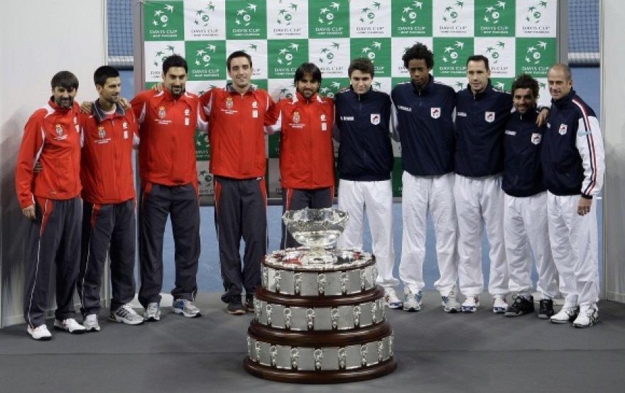 Serbijos ir Prancūzijos tenisininkai prieš Daviso taurės finalą