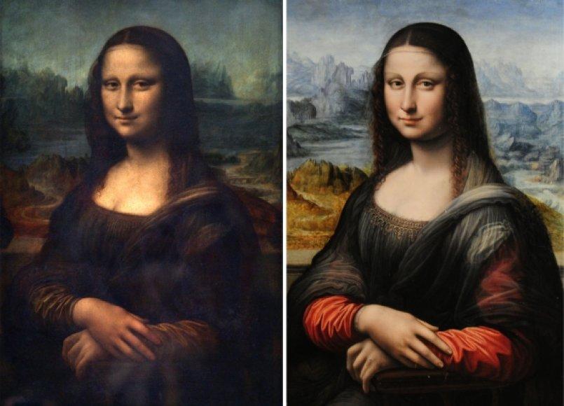 """""""Mona Lisa"""" kairėje ir """"jaunesnė"""" """"Mona Lisa"""" dešinėje"""