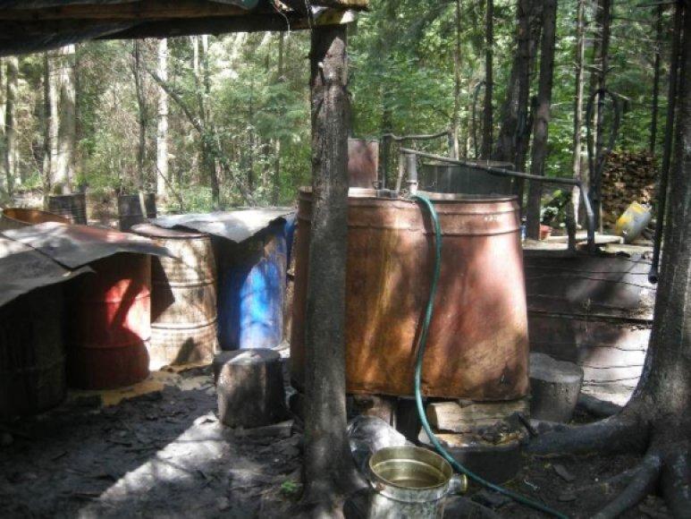 Naminės degtinės gamyba.