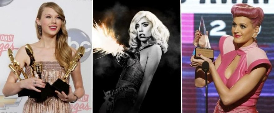 Taylor Swift (kairėje), Lady Gaga (viduryje) ir Katy Perry